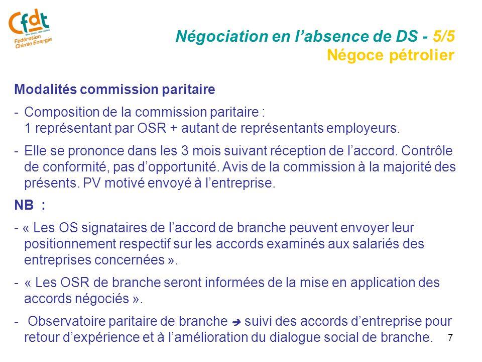 7 Modalités commission paritaire -Composition de la commission paritaire : 1 représentant par OSR + autant de représentants employeurs.