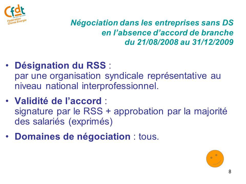 8 Désignation du RSS : par une organisation syndicale représentative au niveau national interprofessionnel.