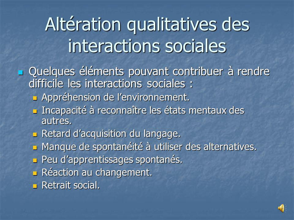 Interactionssociales Communication Intérêtsrestreints Caractéristiques de lautisme