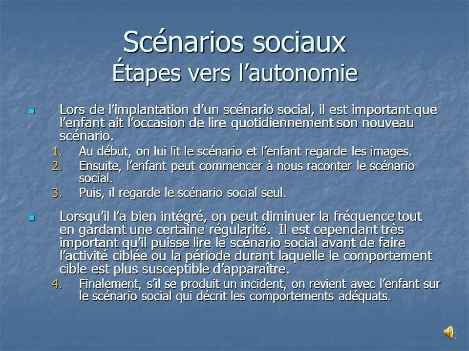 Scénarios sociaux Le scénario social est un livre imagé racontant lhistoire dune situation sociale ciblée Le scénario social est un livre imagé racont