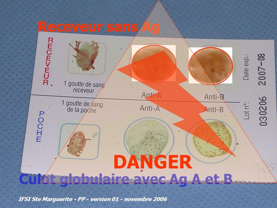 IFSI Ste Marguerite - PP - version 01 - novembre 2006 Receveur sans Ag Culot globulaire avec Ag A et B DANGER
