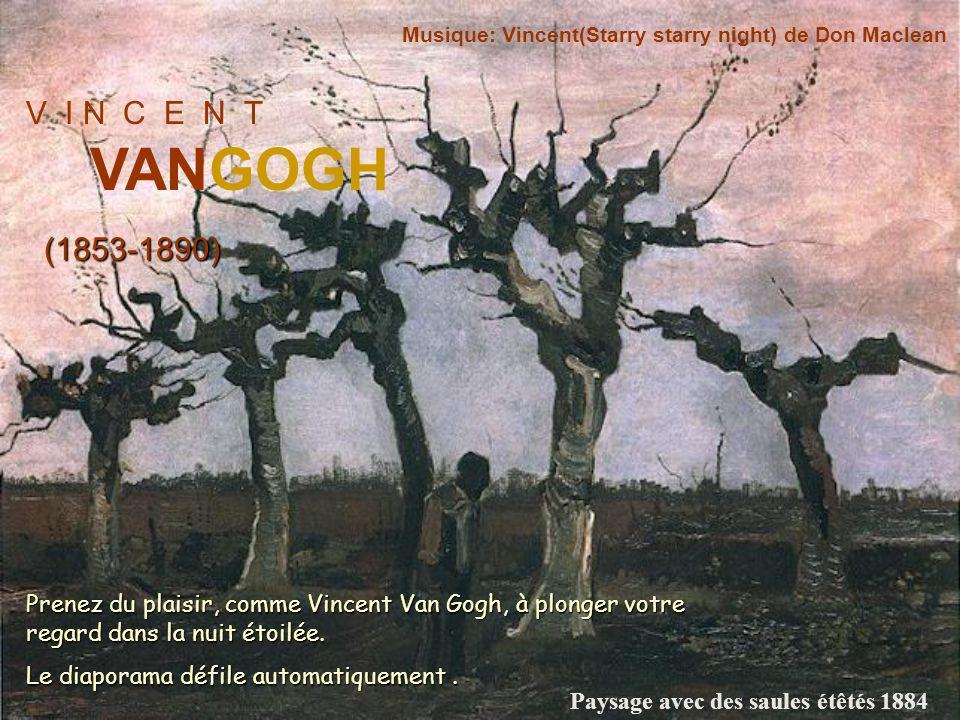 V I N C E N T VANGOGH (1853-1890) Musique: Vincent(Starry starry night) de Don Maclean Prenez du plaisir, comme Vincent Van Gogh, à plonger votre regard dans la nuit étoilée.