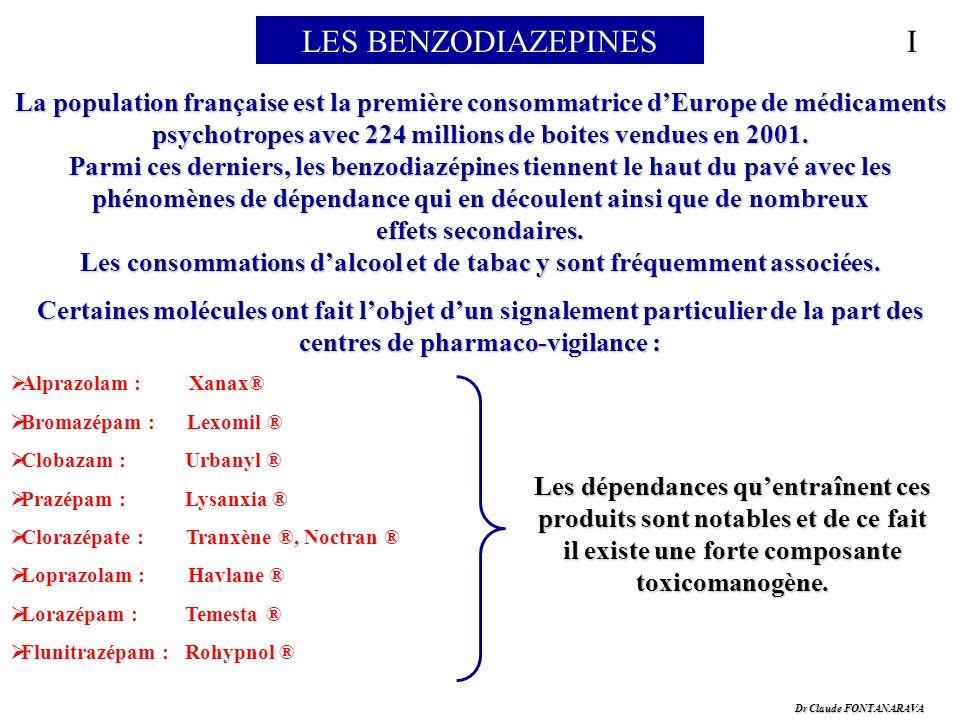 Dr Claude FONTANARAVA LES BENZODIAZEPINES La population française est la première consommatrice dEurope de médicaments psychotropes avec 224 millions