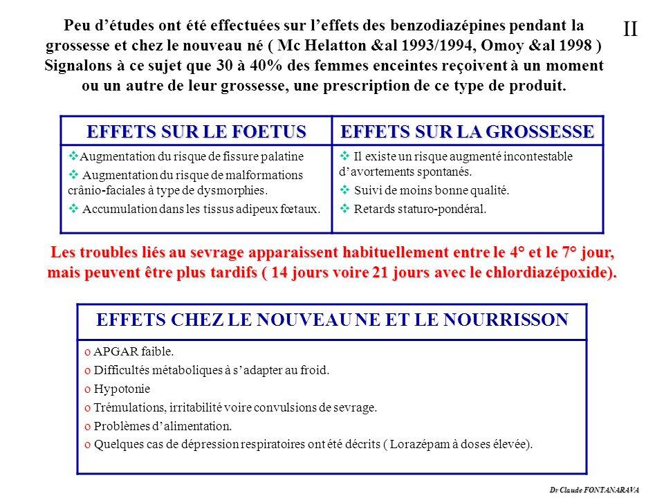 Dr Claude FONTANARAVA II Peu détudes ont été effectuées sur leffets des benzodiazépines pendant la grossesse et chez le nouveau né ( Mc Helatton &al 1