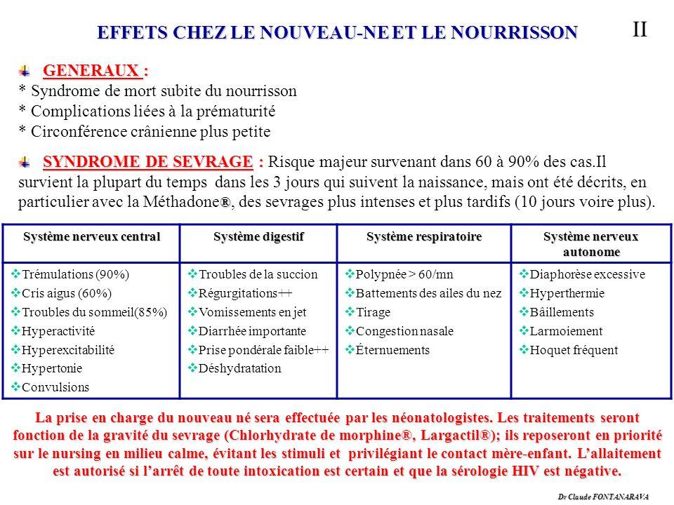 Dr Claude FONTANARAVA II EFFETS CHEZ LE NOUVEAU-NE ET LE NOURRISSON GENERAUX : GENERAUX : * Syndrome de mort subite du nourrisson * Complications liée