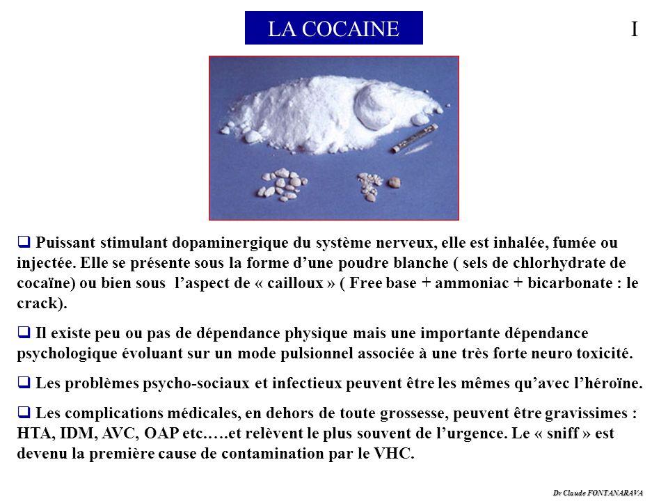 Dr Claude FONTANARAVA LA COCAINEI Puissant stimulant dopaminergique du système nerveux, elle est inhalée, fumée ou injectée. Elle se présente sous la