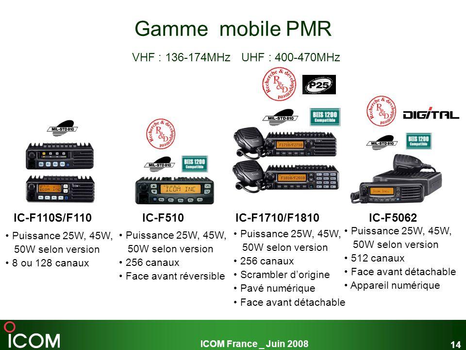 ICOM France _ Juin 2008 14 Gamme mobile PMR VHF : 136-174MHz UHF : 400-470MHz Puissance 25W, 45W, 50W selon version 8 ou 128 canaux Puissance 25W, 45W