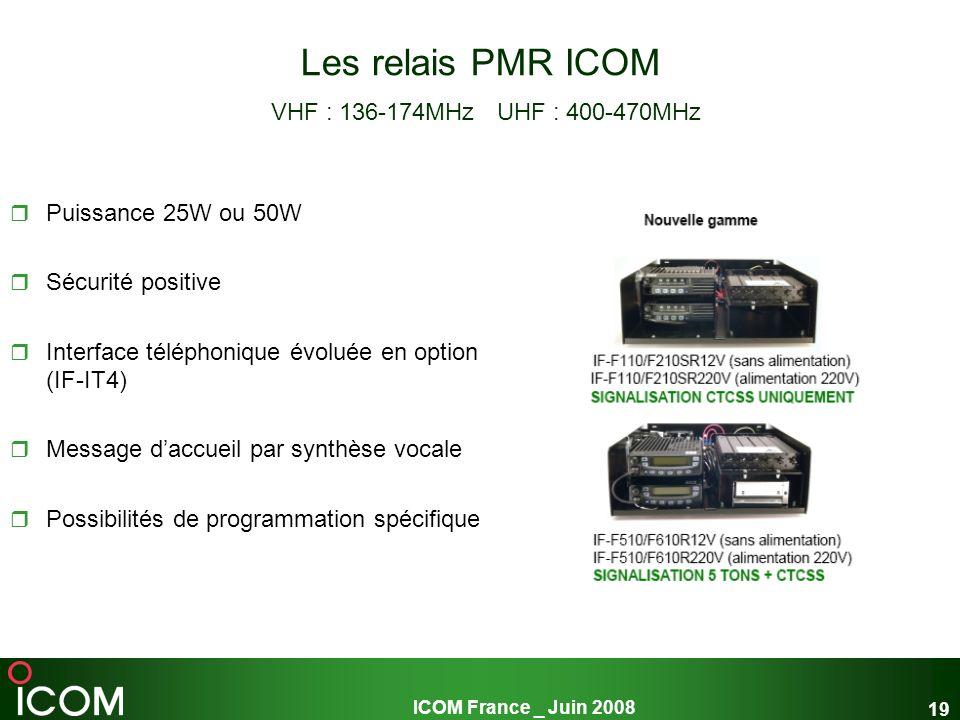 ICOM France _ Juin 2008 19 Les relais PMR ICOM VHF : 136-174MHz UHF : 400-470MHz Puissance 25W ou 50W Sécurité positive Interface téléphonique évoluée