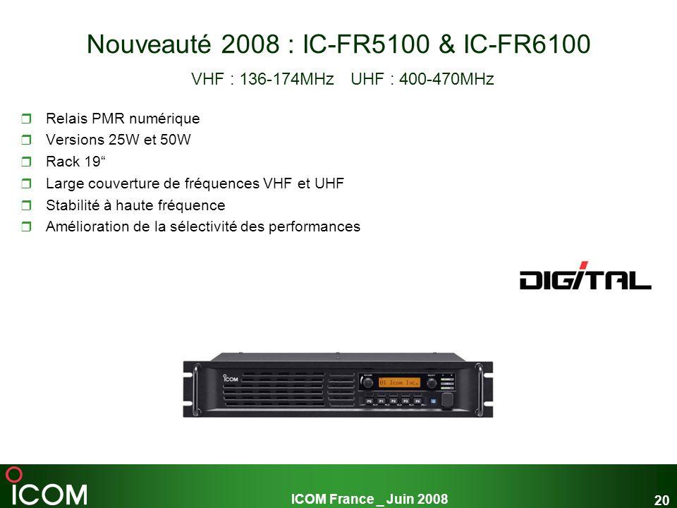ICOM France _ Juin 2008 20 Nouveauté 2008 : IC-FR5100 & IC-FR6100 VHF : 136-174MHz UHF : 400-470MHz Relais PMR numérique Versions 25W et 50W Rack 19 L