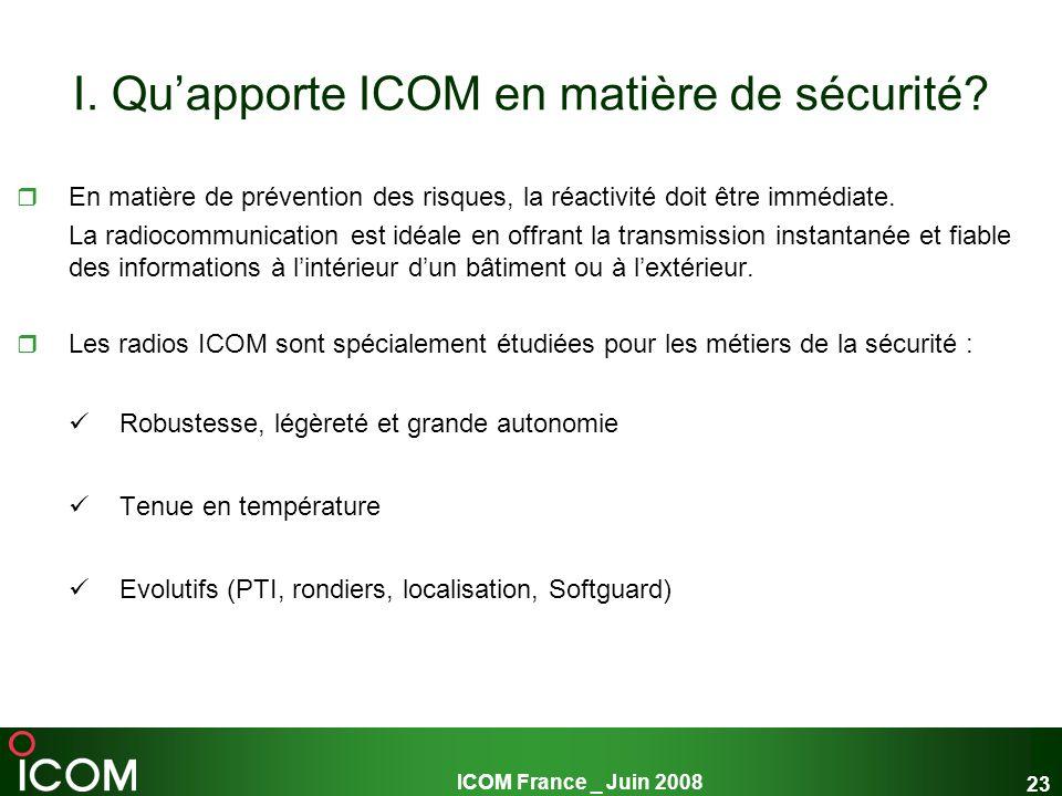 ICOM France _ Juin 2008 23 I. Quapporte ICOM en matière de sécurité? En matière de prévention des risques, la réactivité doit être immédiate. La radio