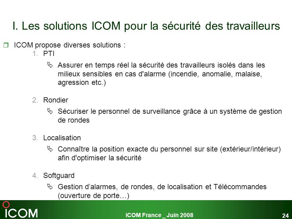 ICOM France _ Juin 2008 24 I. Les solutions ICOM pour la sécurité des travailleurs ICOM propose diverses solutions : 1.PTI Assurer en temps réel la sé