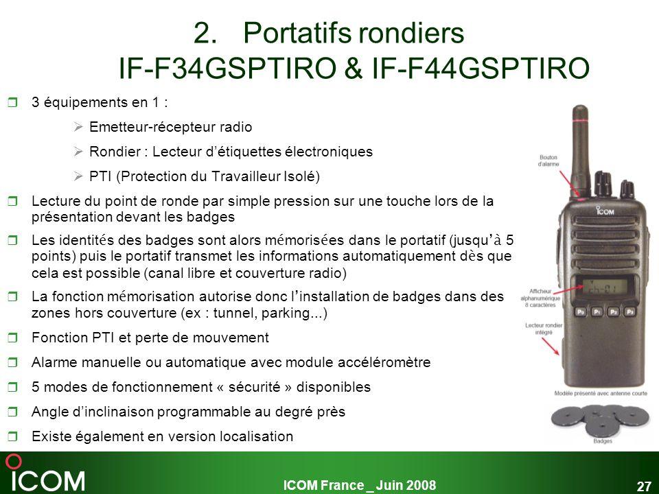 ICOM France _ Juin 2008 27 2.Portatifs rondiers IF-F34GSPTIRO & IF-F44GSPTIRO 3 équipements en 1 : Emetteur-récepteur radio Rondier : Lecteur détiquet