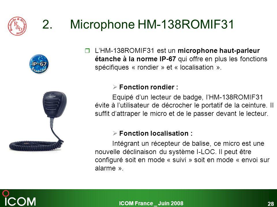 ICOM France _ Juin 2008 28 2. Microphone HM-138ROMIF31 LHM-138ROMIF31 est un microphone haut-parleur étanche à la norme IP-67 qui offre en plus les fo