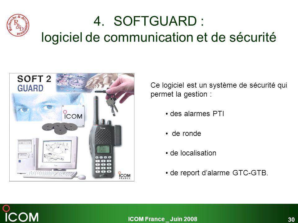 ICOM France _ Juin 2008 30 4.SOFTGUARD : logiciel de communication et de sécurité Ce logiciel est un système de sécurité qui permet la gestion : des a