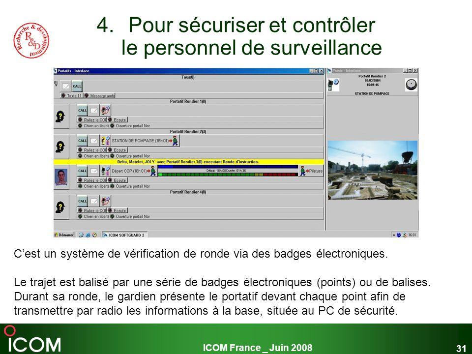 ICOM France _ Juin 2008 31 4.Pour sécuriser et contrôler le personnel de surveillance Cest un système de vérification de ronde via des badges électron
