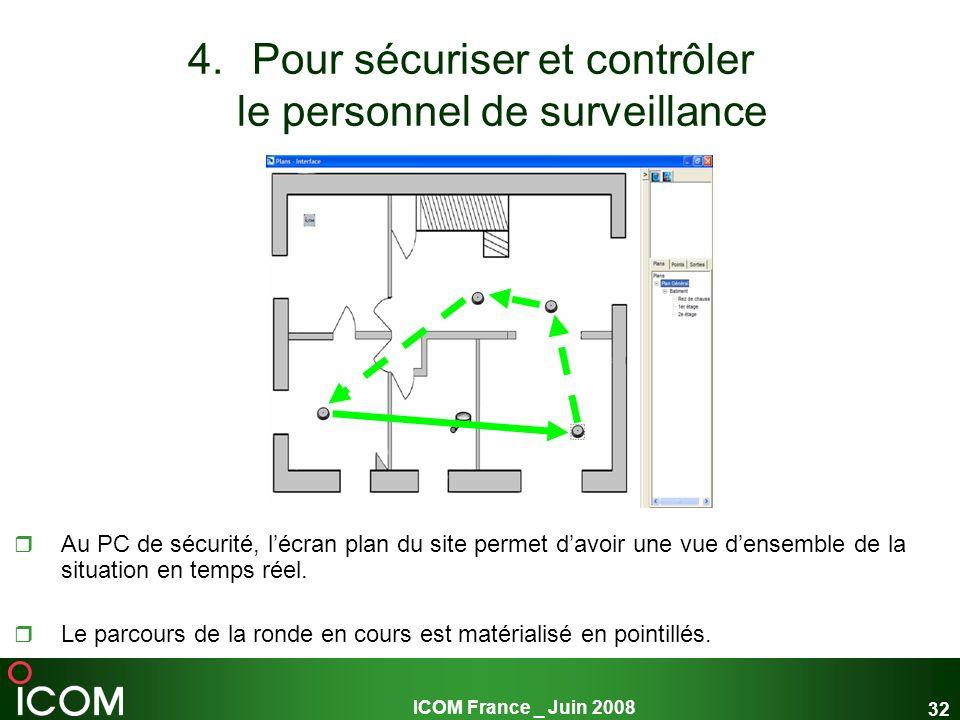 ICOM France _ Juin 2008 32 4.Pour sécuriser et contrôler le personnel de surveillance Au PC de sécurité, lécran plan du site permet davoir une vue den