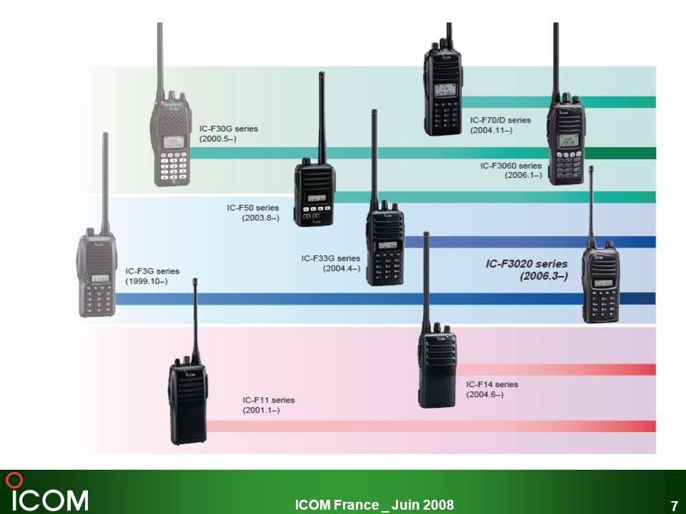 8 Gamme portatif PMR VHF : 136-174MHz UHF : 400-470MHz IC-F15/S IC-F3022S/T IC-F34GS/GT IC-F51 IC-F3162S/T +15h dautonomie 2 ou 16 canaux +16h dautonomie 512 canaux Scrambler Option numérique +10h dautonomie 128 canaux Scrambler +15h dautonomie 256 canaux +15h dautonomie 128 canaux