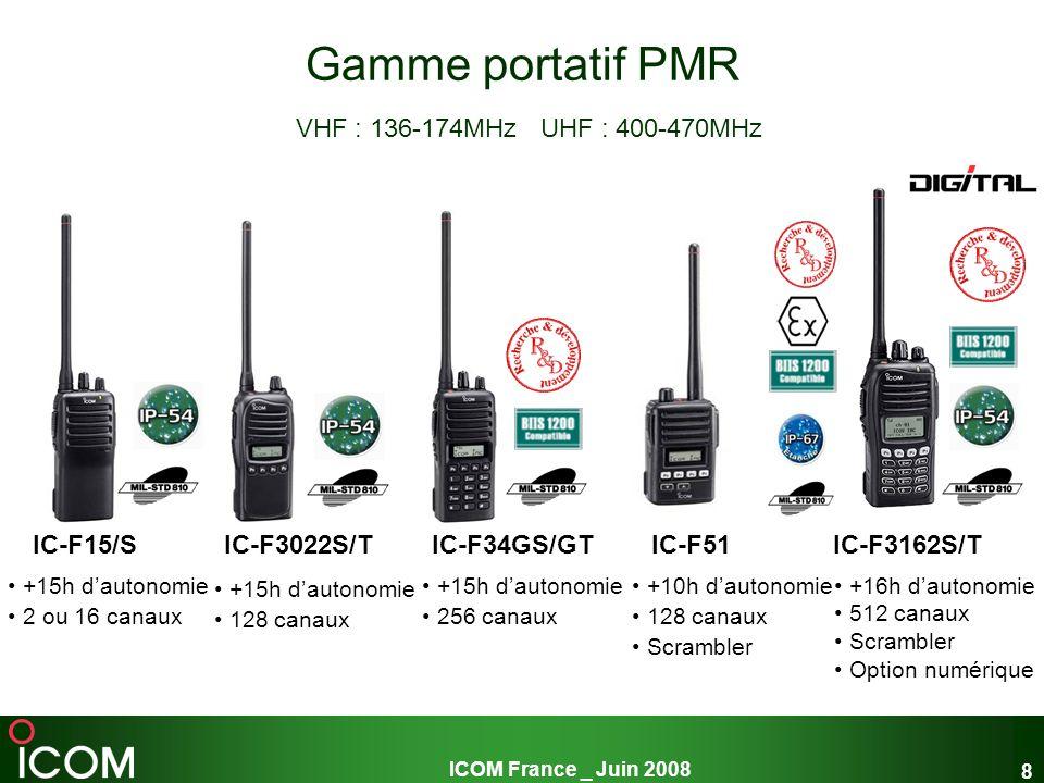 ICOM France _ Juin 2008 19 Les relais PMR ICOM VHF : 136-174MHz UHF : 400-470MHz Puissance 25W ou 50W Sécurité positive Interface téléphonique évoluée en option (IF-IT4) Message daccueil par synthèse vocale Possibilités de programmation spécifique