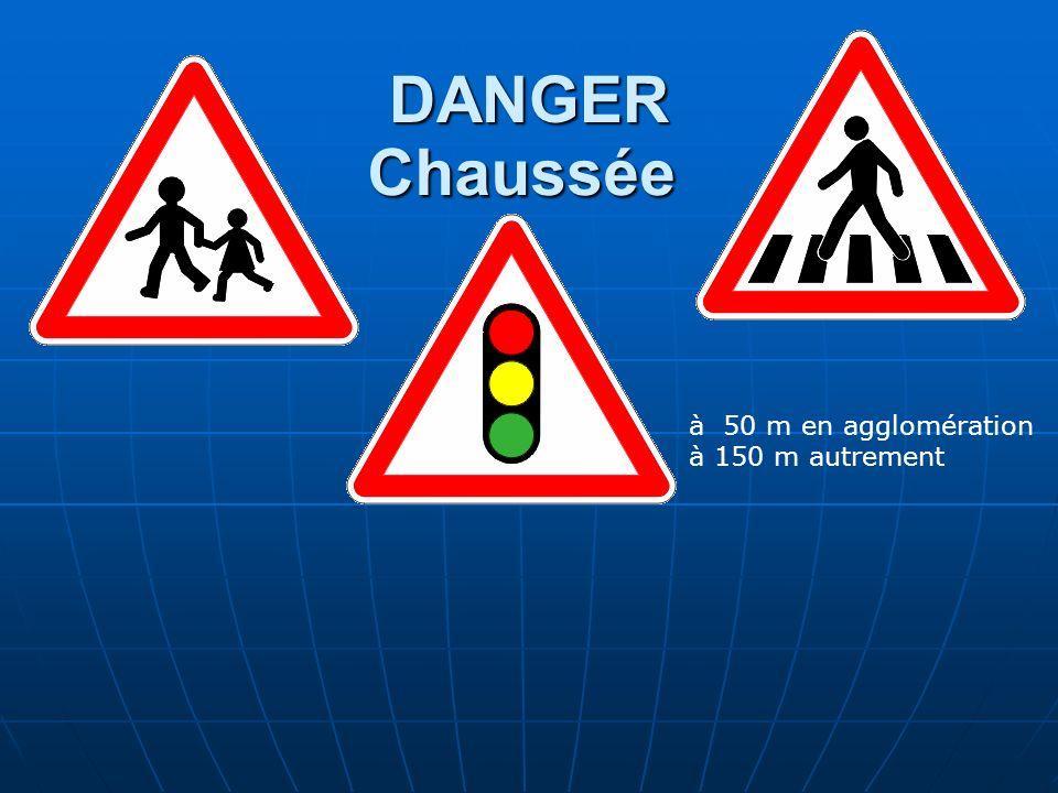 DANGER Chaussée à 50 m en agglomération à 150 m autrement <= Exception ! Dès la position du panneau