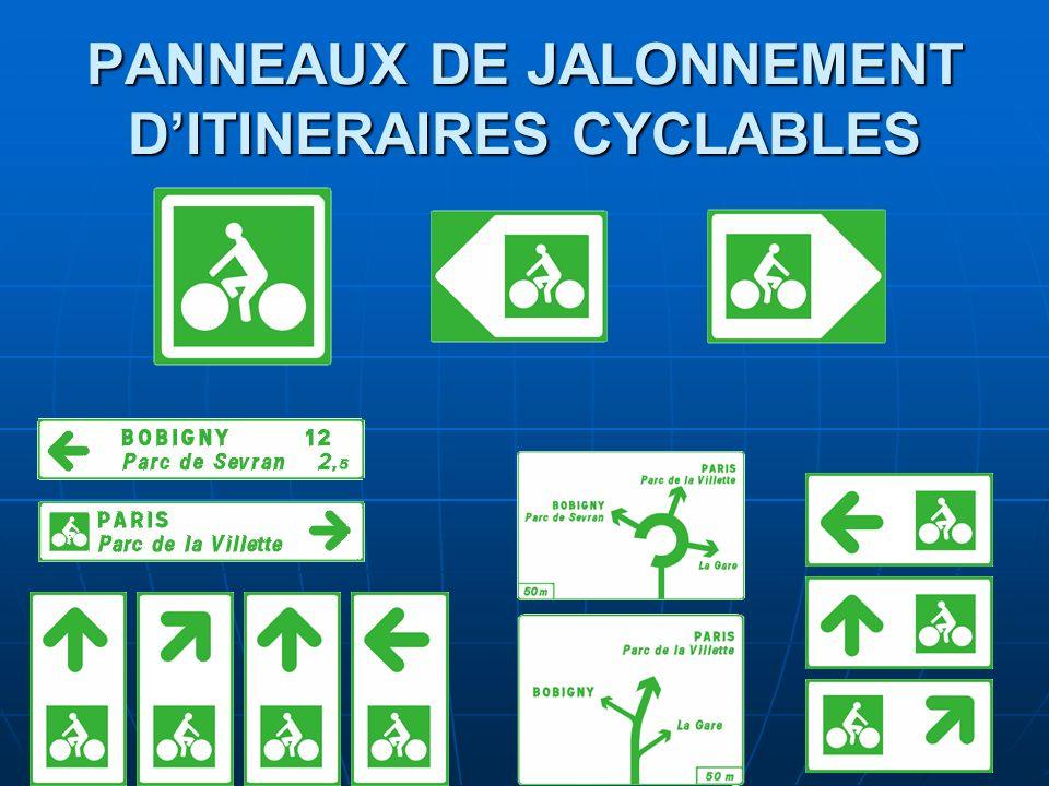 PANNEAUX DE JALONNEMENT DITINERAIRES CYCLABLES