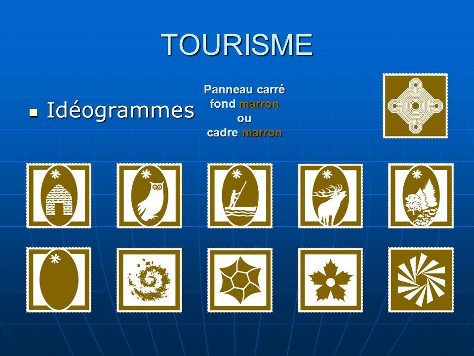 TOURISME Idéogrammes Idéogrammes Panneau carré fond marron ou cadre marron