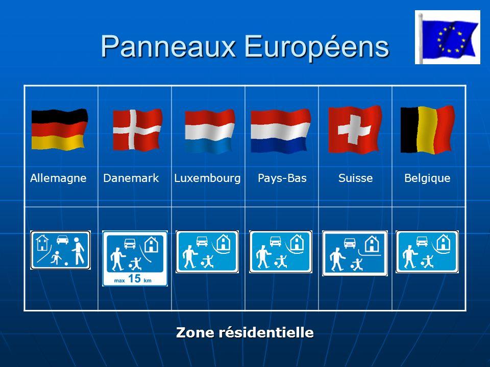Panneaux Européens AllemagneDanemarkLuxembourg SuisseBelgique Zone résidentielle Pays-Bas