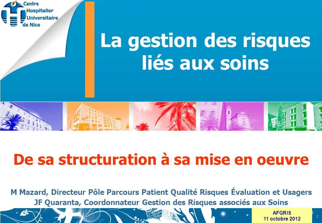 www.chu-nice.fr AFGRIS 11 octobre 2012 De sa structuration à sa mise en oeuvre M Mazard, Directeur Pôle Parcours Patient Qualité Risques Évaluation et