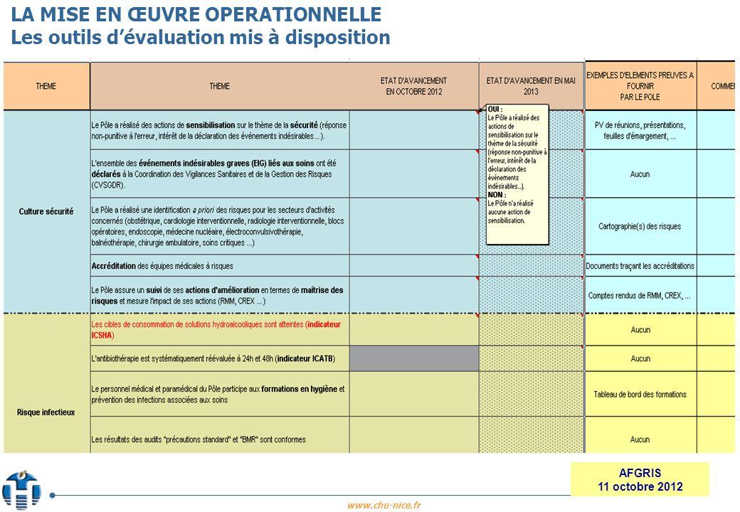 www.chu-nice.fr AFGRIS 11 octobre 2012 LA MISE EN ŒUVRE OPERATIONNELLE Les outils dévaluation mis à disposition