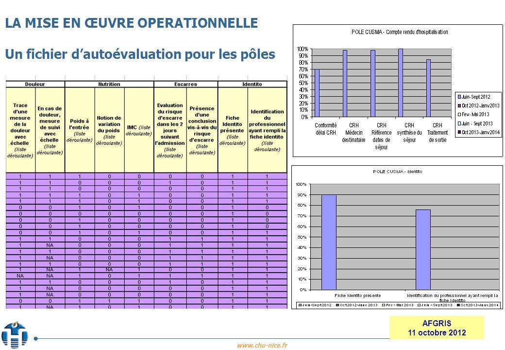 www.chu-nice.fr AFGRIS 11 octobre 2012 LA MISE EN ŒUVRE OPERATIONNELLE Un fichier dautoévaluation pour les pôles