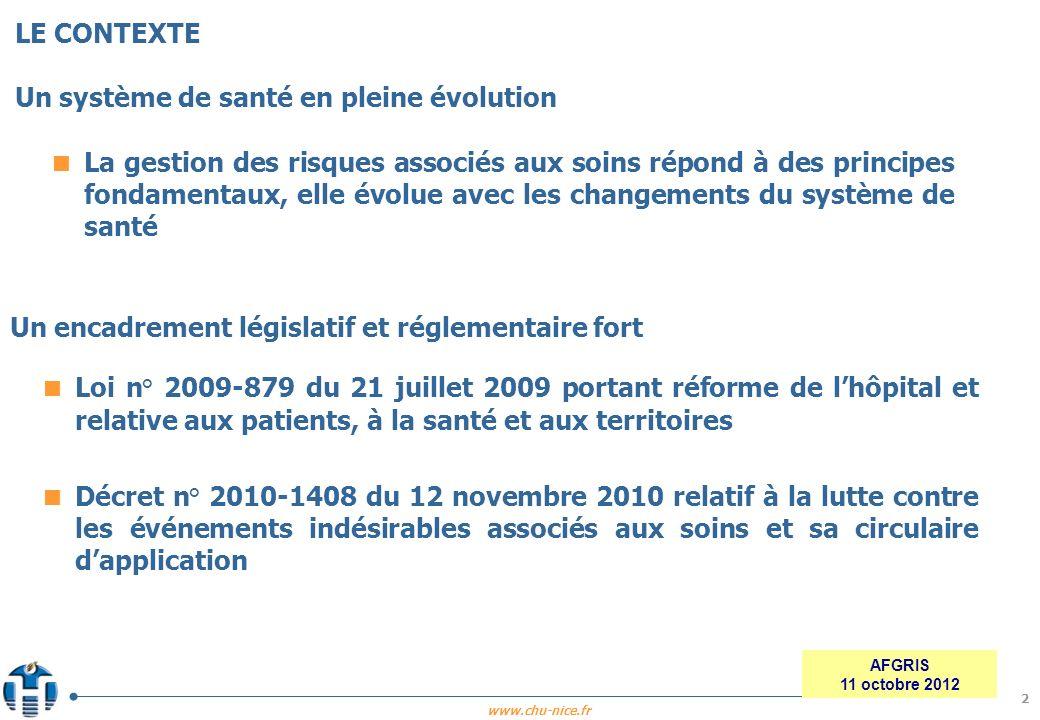 www.chu-nice.fr AFGRIS 11 octobre 2012 La gestion des risques associés aux soins répond à des principes fondamentaux, elle évolue avec les changements