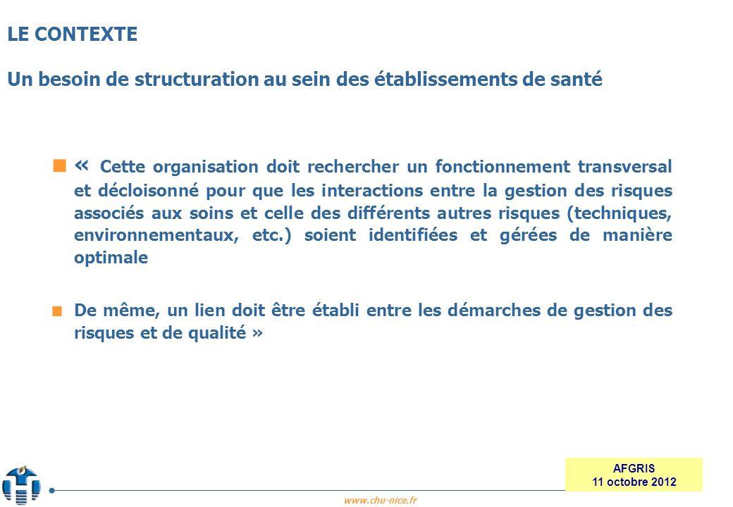 www.chu-nice.fr AFGRIS 11 octobre 2012 « Cette organisation doit rechercher un fonctionnement transversal et décloisonné pour que les interactions ent