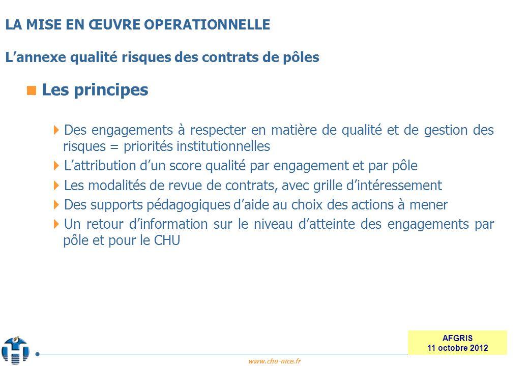 www.chu-nice.fr AFGRIS 11 octobre 2012 Les principes Des engagements à respecter en matière de qualité et de gestion des risques = priorités instituti