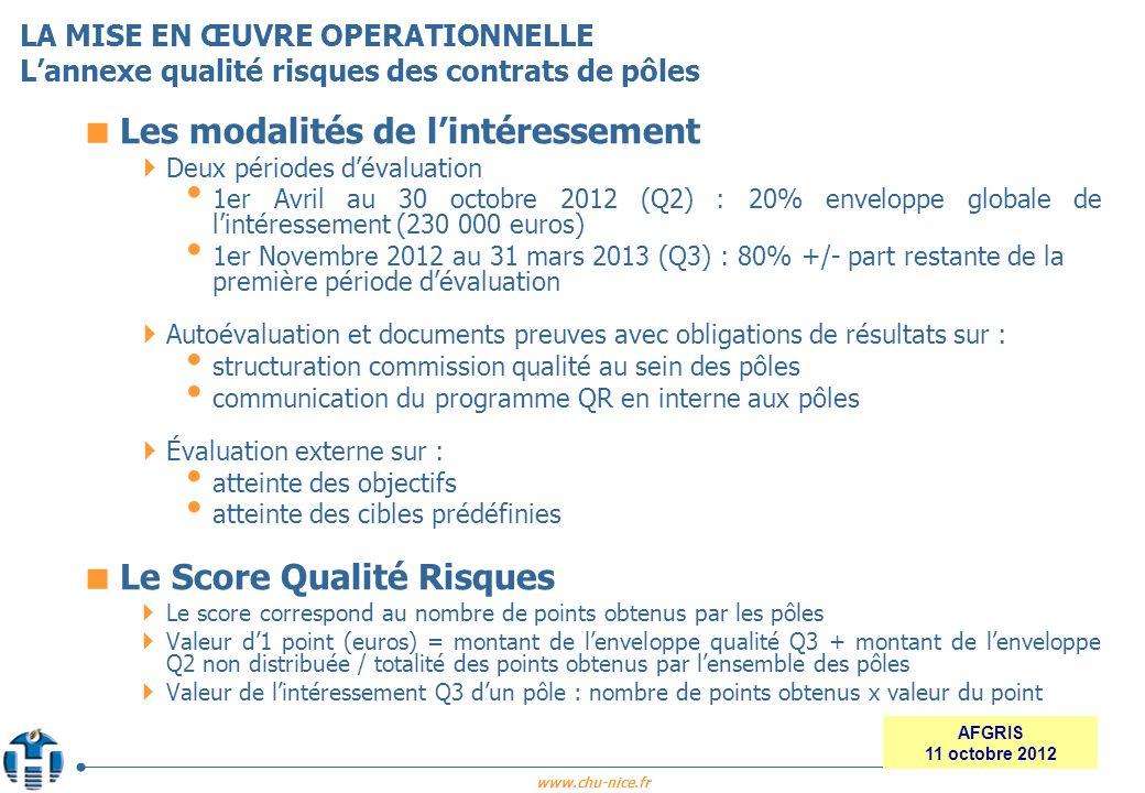 www.chu-nice.fr AFGRIS 11 octobre 2012 Les modalités de lintéressement Deux périodes dévaluation 1er Avril au 30 octobre 2012 (Q2) : 20% enveloppe glo
