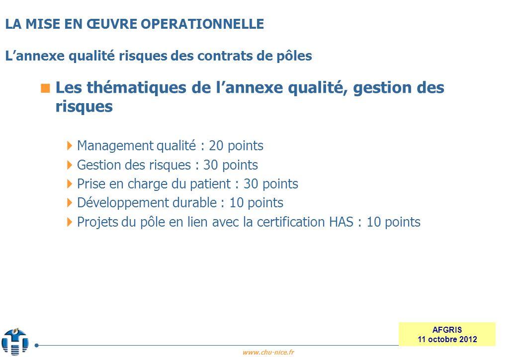 www.chu-nice.fr AFGRIS 11 octobre 2012 Les thématiques de lannexe qualité, gestion des risques Management qualité : 20 points Gestion des risques : 30