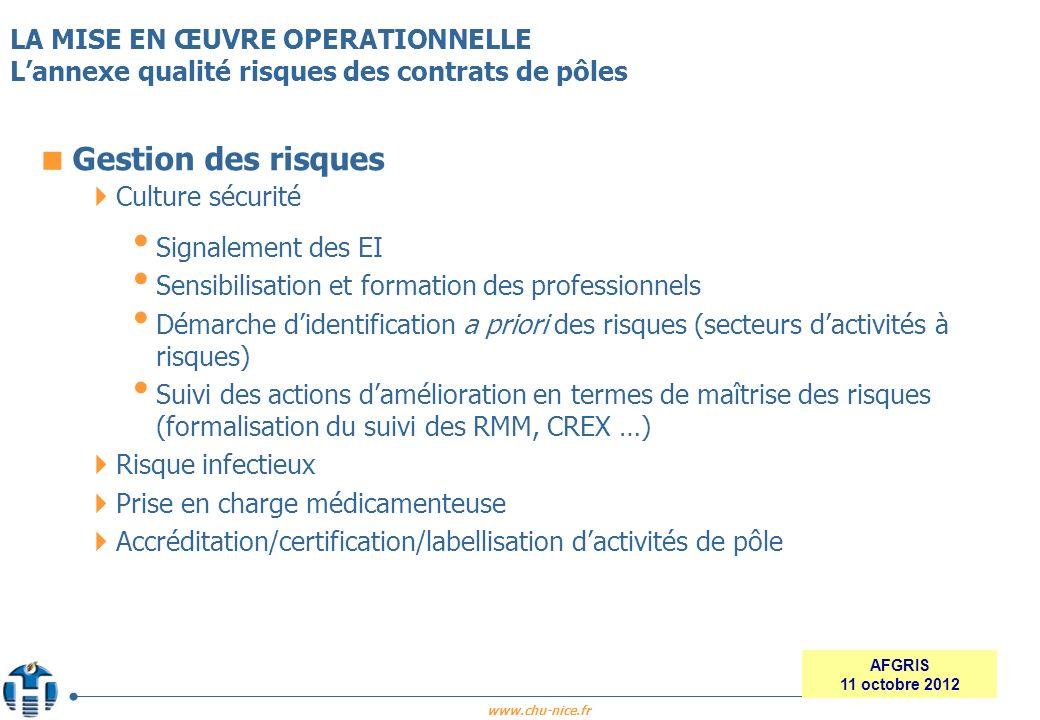www.chu-nice.fr AFGRIS 11 octobre 2012 Gestion des risques Culture sécurité Signalement des EI Sensibilisation et formation des professionnels Démarch