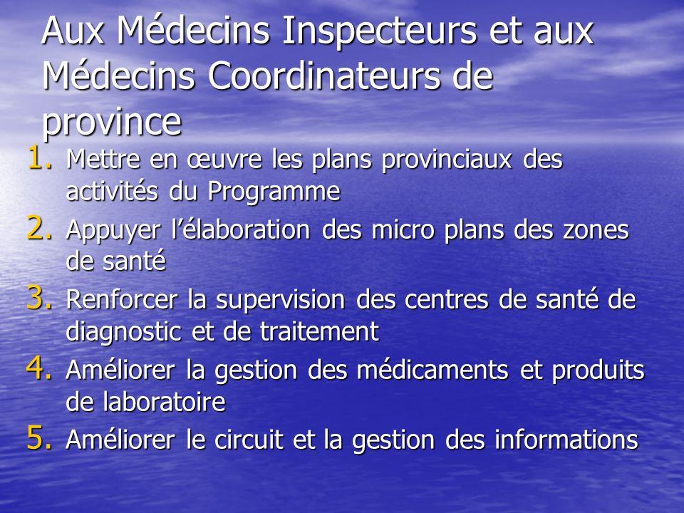 Aux Médecins Inspecteurs et aux Médecins Coordinateurs de province 1.