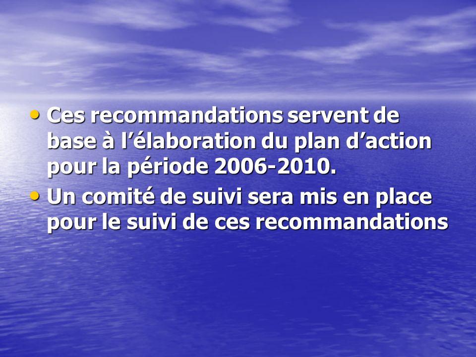 Ces recommandations servent de base à lélaboration du plan daction pour la période 2006-2010.