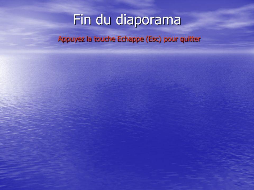 Fin du diaporama Appuyez la touche Echappe (Esc) pour quitter