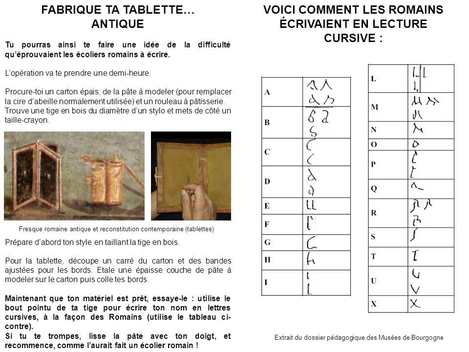 VOICI COMMENT LES ROMAINS ÉCRIVAIENT EN LECTURE CURSIVE : Extrait du dossier pédagogique des Musées de Bourgogne FABRIQUE TA TABLETTE… ANTIQUE Tu pour