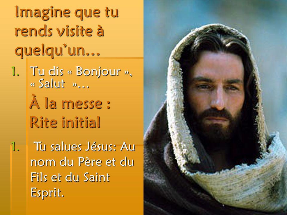 Imagine que tu rends visite à quelquun… 1.Tu dis « Bonjour », « Salut »… À la messe : Rite initial 1. Tu salues Jésus: Au nom du Père et du Fils et du