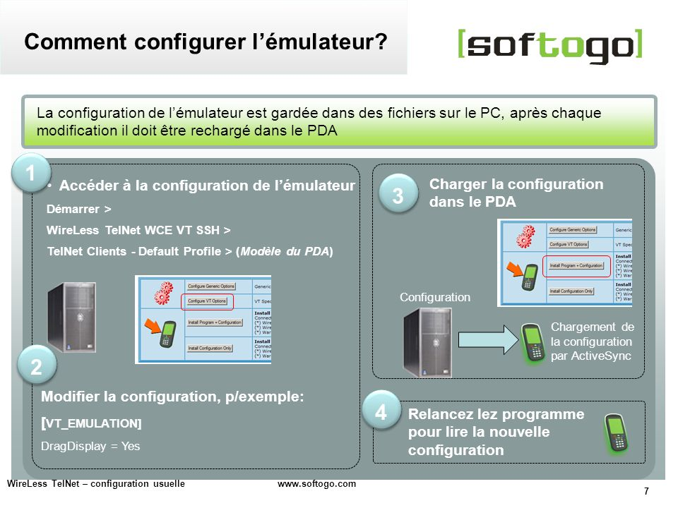 28 WireLess TelNet – configuration usuelle www.softogo.com Connecter un scanner série TIP.