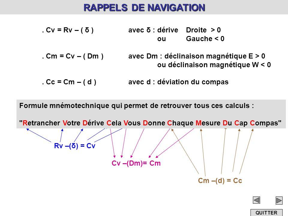 RAPPELS DE NAVIGATION. Cv = Rv – ( δ )avec δ : dérive Droite > 0 ou Gauche < 0. Cm = Cv – ( Dm )avec Dm : déclinaison magnétique E > 0 ou déclinaison