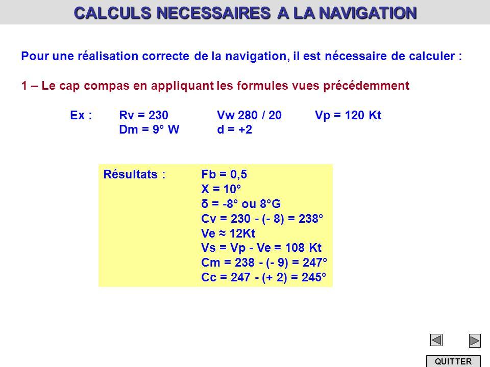 CALCULS NECESSAIRES A LA NAVIGATION Pour une réalisation correcte de la navigation, il est nécessaire de calculer : 1 – Le cap compas en appliquant le