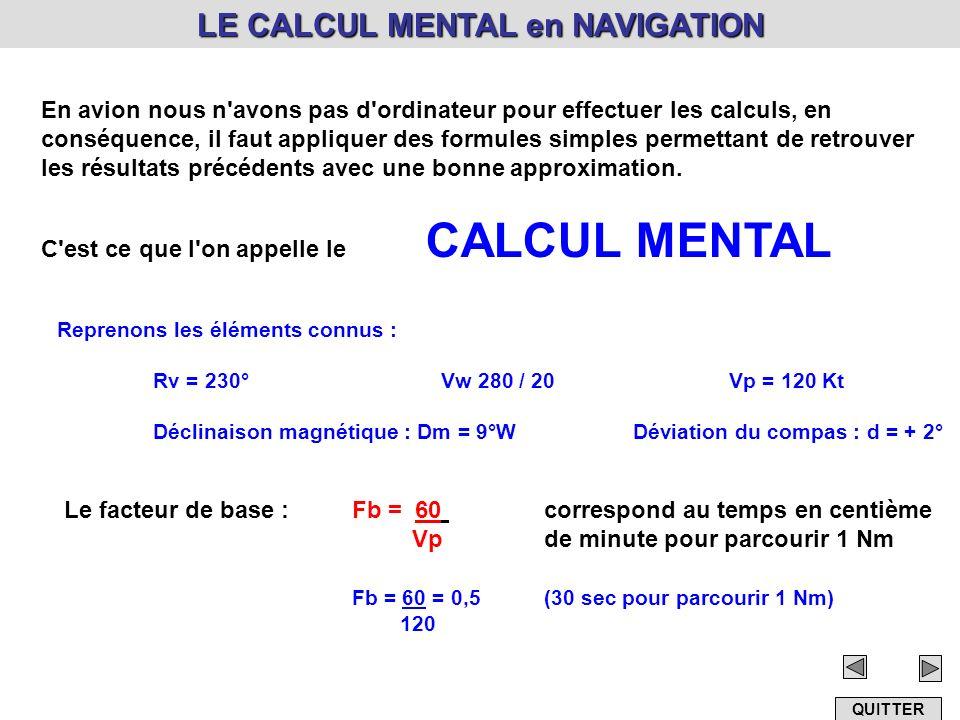 LE CALCUL MENTAL en NAVIGATION En avion nous n'avons pas d'ordinateur pour effectuer les calculs, en conséquence, il faut appliquer des formules simpl