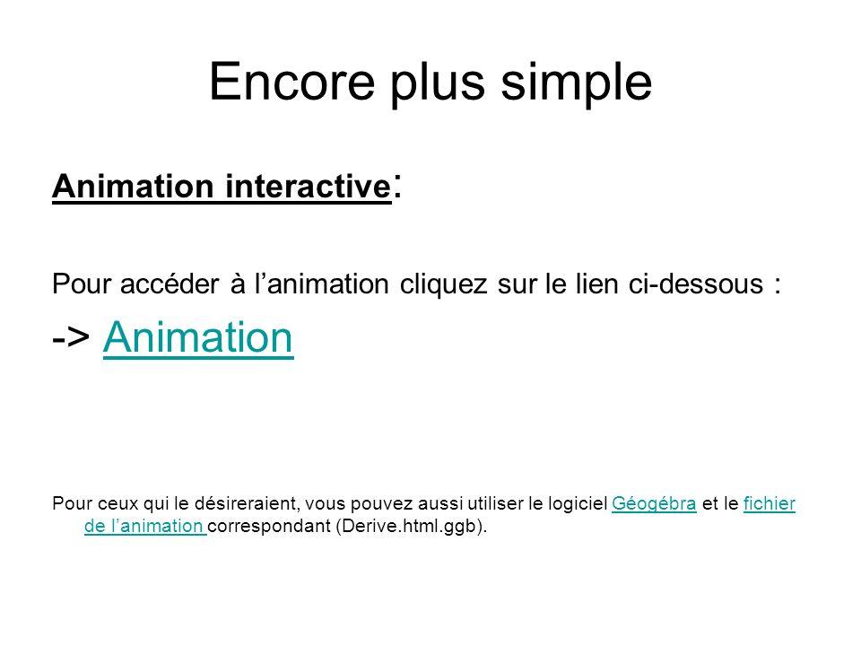 Encore plus simple Animation interactive : Pour accéder à lanimation cliquez sur le lien ci-dessous : -> AnimationAnimation Pour ceux qui le désirerai