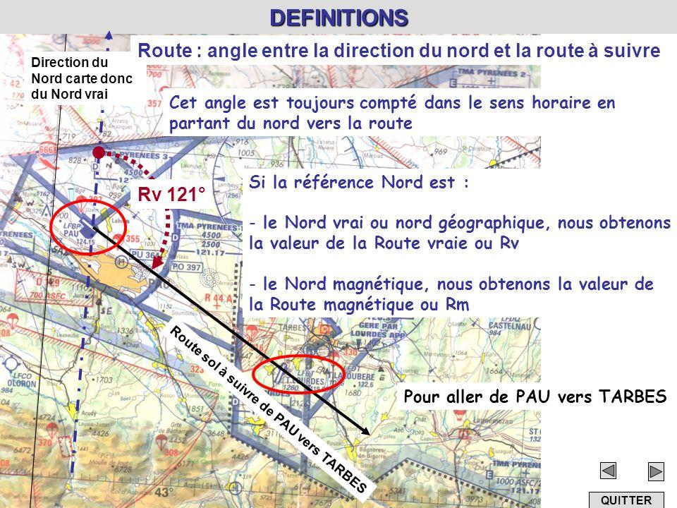 DEFINITIONS Route sol à suivre de PAU vers TARBES Cet angle est toujours compté dans le sens horaire en partant du nord vers la route Direction du Nor