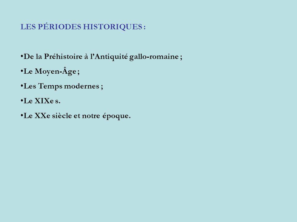 LES PÉRIODES HISTORIQUES : De la Préhistoire à lAntiquité gallo-romaine ; Le Moyen-Âge ; Les Temps modernes ; Le XIXe s. Le XXe siècle et notre époque