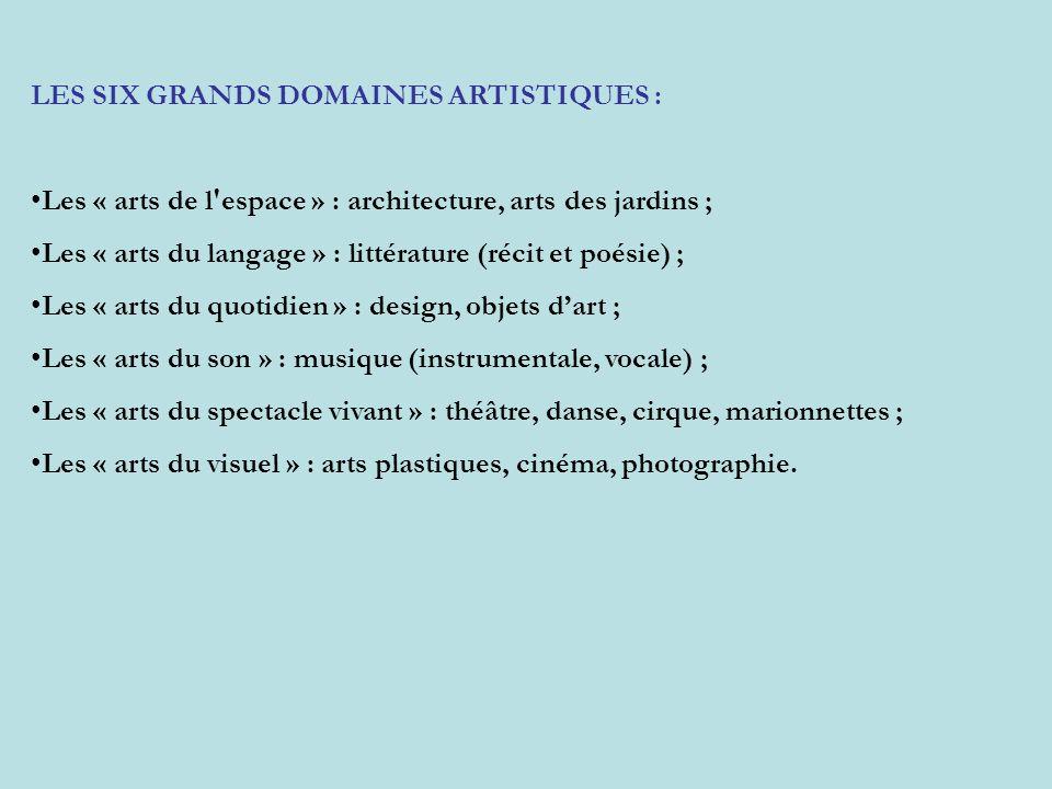 LES SIX GRANDS DOMAINES ARTISTIQUES : Les « arts de l'espace » : architecture, arts des jardins ; Les « arts du langage » : littérature (récit et poés