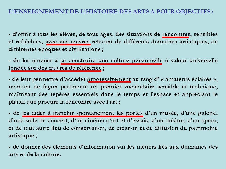 LENSEIGNEMENT DE LHISTOIRE DES ARTS A POUR OBJECTIFS : - doffrir à tous les élèves, de tous âges, des situations de rencontres, sensibles et réfléchie