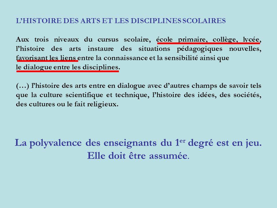 LHISTOIRE DES ARTS ET LES DISCIPLINES SCOLAIRES Aux trois niveaux du cursus scolaire, école primaire, collège, lycée, lhistoire des arts instaure des